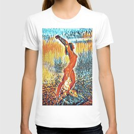 3442s-HS Lake Superior Nude Rendered in Impressionistic Style by Chris Maher T-shirt
