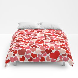 Love, Romance, Hearts - Red White Comforters