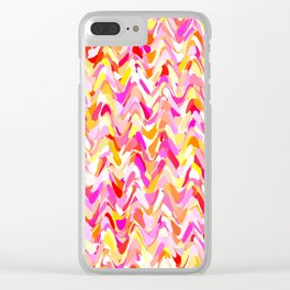 Waves in pink and orange shades, fresh summer color design Clear iPhone Case