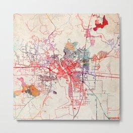Monroe map Louisiana LA Metal Print
