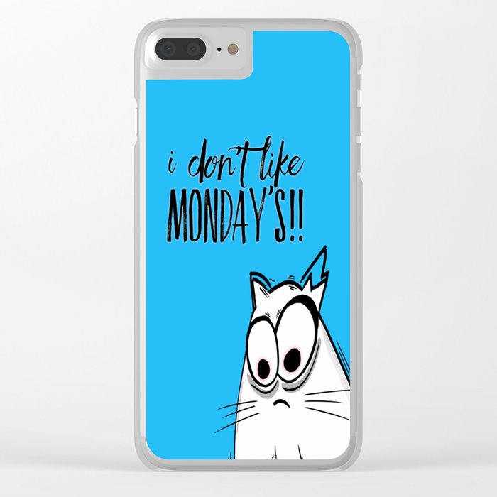 Noodles the Cat doesn't like Mondays Clear iPhone Case