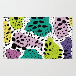 Modern abstract painted black polka dots fashion colors geometric shapes lavender lime Rug