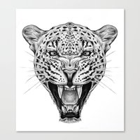 leopard Canvas Prints featuring Leopard by Libby Watkins Illustration