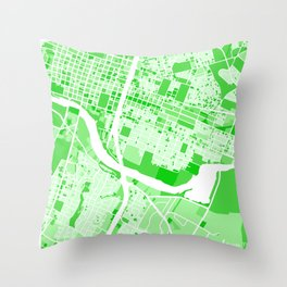 Austin City Map Green Throw Pillow
