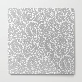 Light Gray Floral Pattern Metal Print