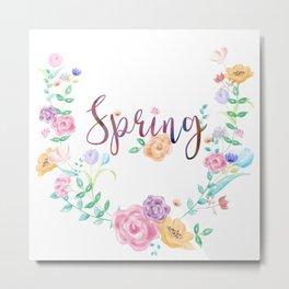 Watercolor Spring Floral Wreath Metal Print