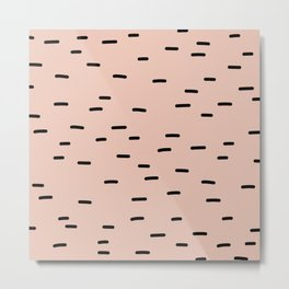 Peach dash abstract stripes pattern Metal Print