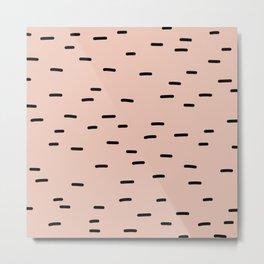 Peach dash abstract stripes pattern Metal Print