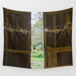 Through the barn door  Wall Tapestry