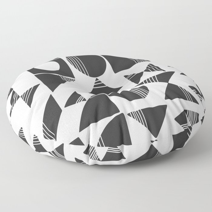 Shape and Line in Black and White Floor Pillow