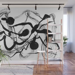Abstract Black Strokes Wall Mural
