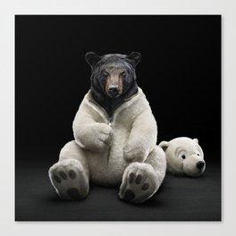Black bear wearing polar bear costume Canvas Print