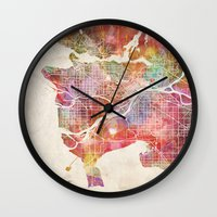 vancouver Wall Clocks featuring Vancouver map by Map Map Maps