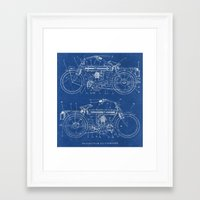 blueprint Framed Art Prints featuring Motorcycle blueprint by marcusmelton