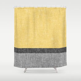 Yellow Grey and Black Section Stripe and Graphic Burlap Print Shower Curtain