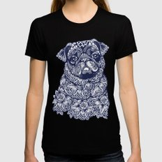 MANDALA OF PUG Womens Fitted Tee SMALL Black