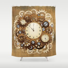 Steampunk Vintage Style Clocks and Gears Shower Curtain