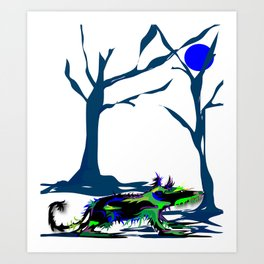 """Wolfdog"" Paulette Lust Original, Contemporary, Whimsical, Colorful Art Art Print"