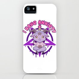 I have Anxiety - Creepy Cute Baphomet T-Shirt iPhone Case