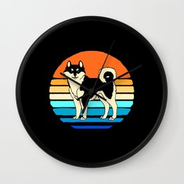 Akita Dog Owner Retro Vintage Sunset Japanese Inu Wall Clock
