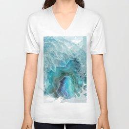 Blue Aqua Agate Unisex V-Neck