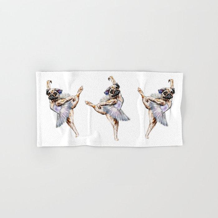 Pug Ballerina in Dog Ballet | Swan Lake  Hand & Bath Towel