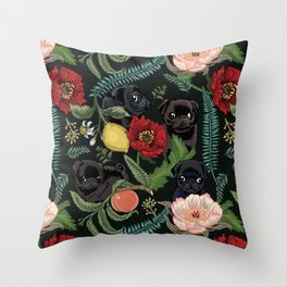 Botanical and Black Pugs Throw Pillow