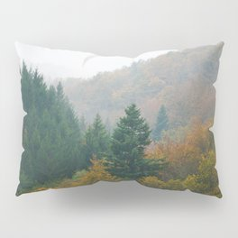 Foggy autumn forest layers disappearing in fog Pillow Sham