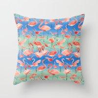 flamingos Throw Pillows featuring Flamingos  by Ninola