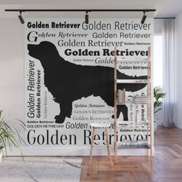 Golden Retriever Silhouette with Typography Wall Mural