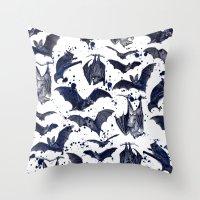 bats Throw Pillows featuring BATS by DIVIDUS