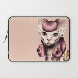 Ramona The Cat - Background Color: Nude Laptop Sleeve