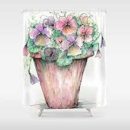 Watercolor Pansies Shower Curtain