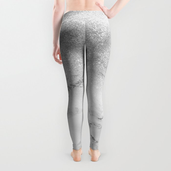 Modern faux grey silver glitter ombre white marble Leggings