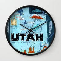 utah Wall Clocks featuring UTAH by Christiane Engel