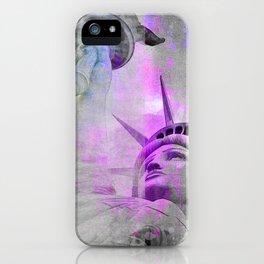 Statue of  Liberty pink mixed media art iPhone Case