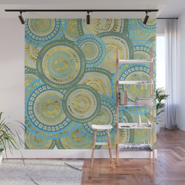 Circular Ethnic  pattern pastel gold blue and teal Wall Mural