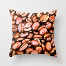 roasted coffee beans texture acrsat Throw Pillow