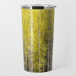 Lovely spring atmosphere - vibrant green leaves on the trees - beautiful birch grove Travel Mug