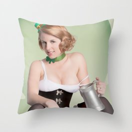 """Luck of the Irish"" - The Playful Pinup - St. Patrick's Day Pinup Girl by Maxwell H. Johnson Throw Pillow"