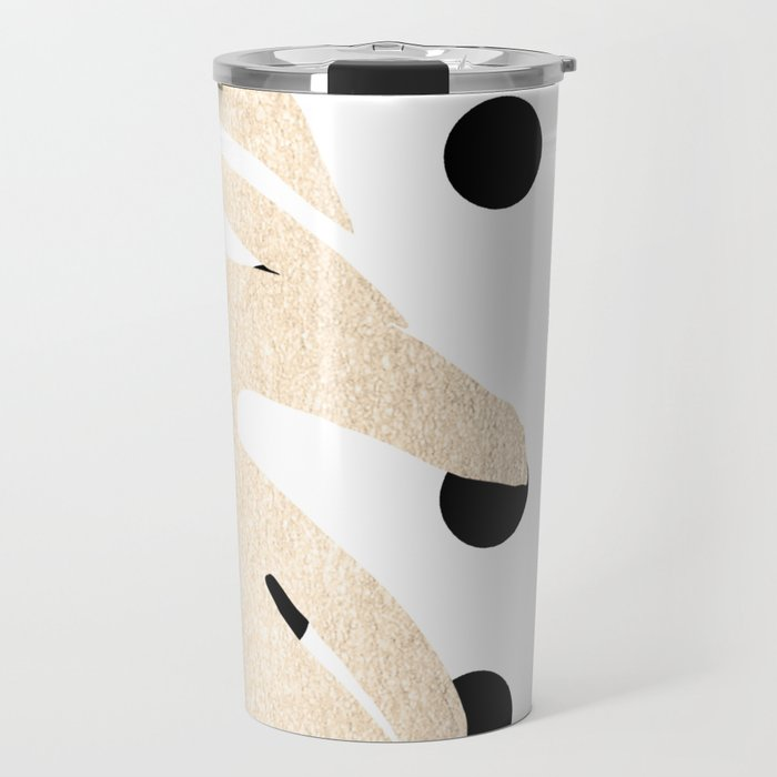 Simply Tropical White Gold Sands Palm Leaves on Dots Travel Mug