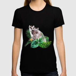 Lemurs watercolor with tropical leaves T-shirt