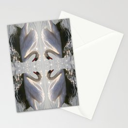 one swan a swimming Stationery Cards