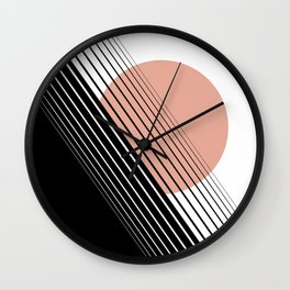 Rising Sun Minimal Japanese Abstract White Black Rose Wall Clock