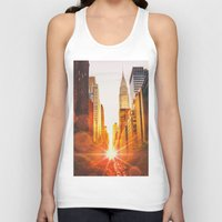 skyline Tank Tops featuring NYC Skyline Sunset by Vivienne Gucwa