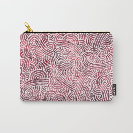 Burgundy red and white swirls doodles Carry-All Pouch