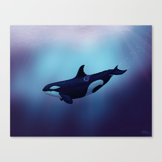 """Lost in Fantasy"" by Amber Marine ~ Orca / Killer Whale Art, (c) 2015 Canvas Print"