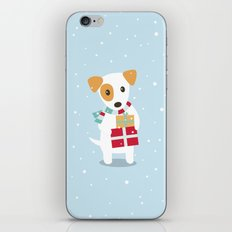 Cute Christmas dog holding a stack of gifts iPhone & iPod Skin