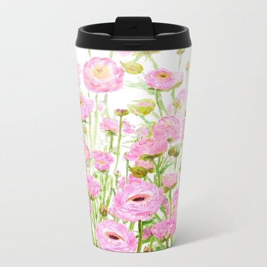 pink buttercup ranunculus field watercolor Metal Travel Mug