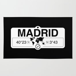 Madrid Madrid with World Map GPS Coordinates and Compass Rug